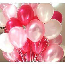 Balloons Metallic HD (WHITE+ RED+ PINK) - Pack of 30