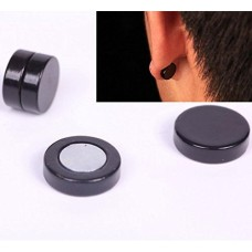 UNISEX Round Magnetic Black Barbell Earrings Titanium Ear Studs Party